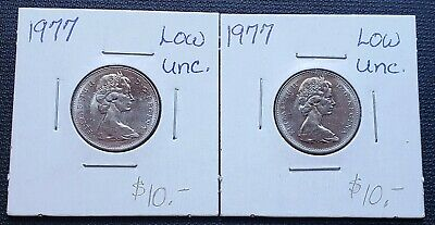 Lot of 2x 1977 Canada 5 Cent Nickels - Low 7 Variety - Mint Condition MS++