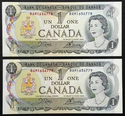 2x Consecutive Uncirculated 1973 Bank of Canada $1 Dollar Banknotes - CRISP