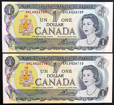 Lot of 2x Consecutive Uncirculated 1973 Bank of Canada $1 Dollar Bills