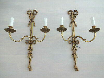 Stunning Large Matching Pair Of French Style Twin Arm Wall Lights Sconces