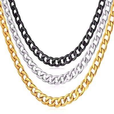 """8MM Mens Cuban Chain Stainless Steel Curb Link Necklace Hip Hop Jewelry 18-26"""""""