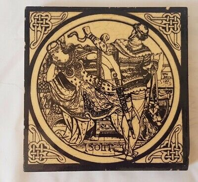 MOYR SMITH MINTON VICTORIAN  MEDIEVAL SCENE FIGURATIVE antique TILE