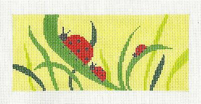 """Contemporary Flowers handpainted Needlepoint Canvas ~ BB Insert  2.75/"""" x 6/""""  LEE"""