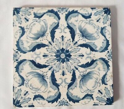 Striking English Symmetrical Art Nouveau Floral 6 Inch Antique Tile