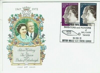 GB FDC 1972 Military Tanks on Silver Wedding Philart cover British Forces 1338