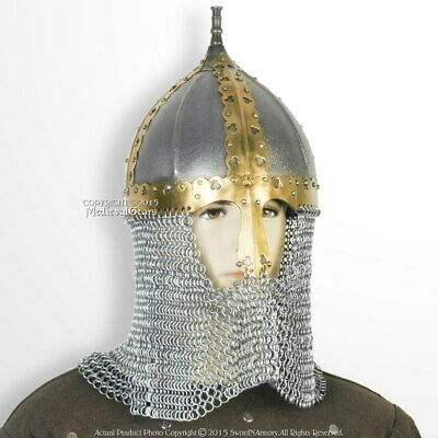 Functional Medieval Russian Helmet 16 Gauge Steel with Chainmail Camail SCA WMA