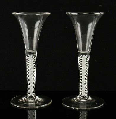 pair Georgian 18th Century double series twist flared bowl drinking glasses