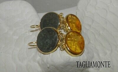 TAGLIAMONTE(1144)Earrings*YGP925*Amber Color Venetian Intaglio + Ancient Coin