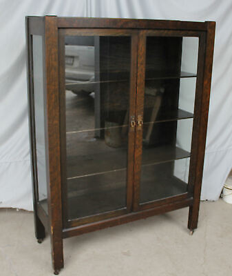 Antique Mission Oak China Curio Cabinet - Arts and Crafts Style