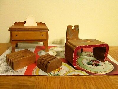 Lot of 6 vintage wooden Doll House Furniture table chair desk painted ?radio