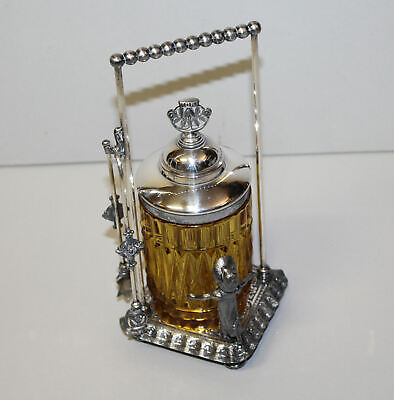 Antique Amber Pattern Glass Victorian Pickle Castor Kate Greenaway Silver Plated