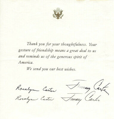 "James E. ""Jimmy"" Carter - Printed Note Signed In Ink With Co-Signers"