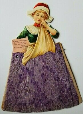 """Victorian Die Cut WOMAN VALENTINE with Crepe Paper Dress 10X7"""" Large"""