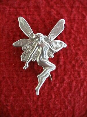 Antique SIMONS BROTHERS HIGH ART WINGED NUDE FAIRY PIN STERLING SILVER BEAUTIUL