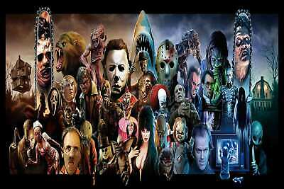 Classic Horror Movie Characters Monster Collage Poster print custom 24x36in A221