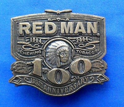 Red Man Chewing Tobacco 100th Anniversary Brass Belt Buckle