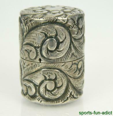 Antique 925 Sterling Silver Hand Chased Repousse Scroll Trinket Pill Snuff Box