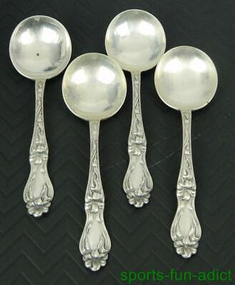 """Set of 4 LILY-FLORAL by FRANK WHITING Sterling Silver 6 1/8"""" Cream Soup Spoons -"""