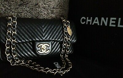 26bf1ea66c11 Mint CHANEL Black Distressed Calfskin Surpique Chevron Gold Chain Small  Flap Bag