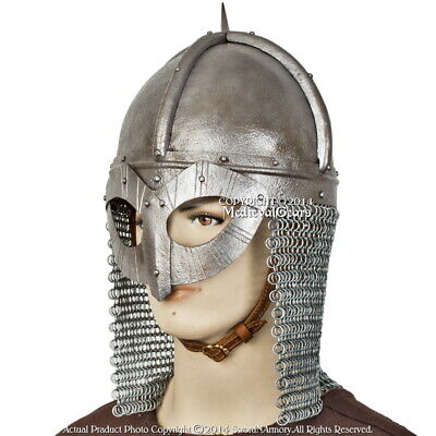 Functional Viking Gjermundbu Helmet 16G with Aventail Chainmail Battle Ready SCA