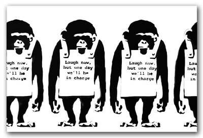 "BANKSY MONKEYS Laugh Now CANVAS ART PRINT 16""X 12""  Graffiti Art poster BW"
