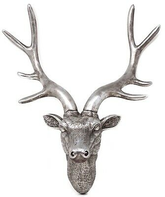 Antique Silver Deer Head Wall Mounted Stag Head Sculpture Shabby Chic Home Decor