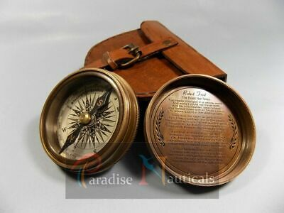 Antique Brass Compass Maritime Directional Pocket Compass With Leather Case Gift