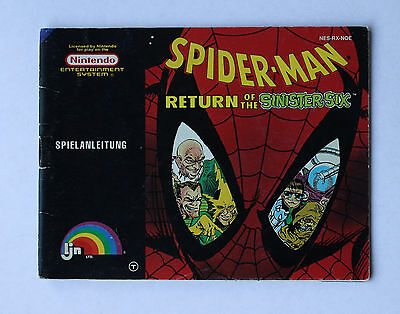 Spiderman Return of the Sinister Six -- Nintendo NES -- Manual (NES-RX-NOE)