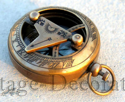 Nautical Solid Brass Antique Style 2 Inches Marine Directional Sundial Compass