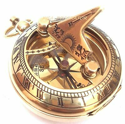 Lot of 10 Solid Brass Sundial Compas Pocket Compass Nautical Decor Handmade Gift