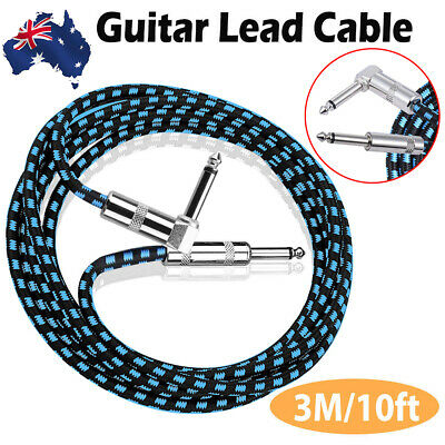 10FT 3M Guitar Lead 1 Right Angle Jack Audio Braided Wire Instrument Cable