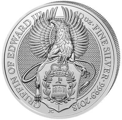 Queens Beasts The Griffin Of Edward III Attaque 10 oz 999 Pièce 10 Pound