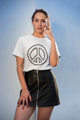 Womens FASHION T-Shirt PEACE Sign Sprayed Summer Hippy Music Love Summer Hipster