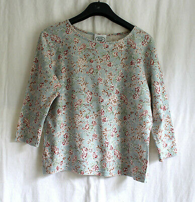 Laura Ashley. Duck Egg Blue dusky Pink flowers 3/4 sleeve Cotton Top Stretchy Me