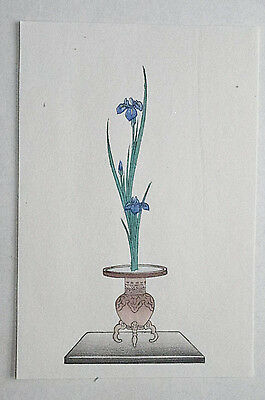 IRIS : Japanese WOODBLOCK PRINT Art Ikebana Flower Arrangement