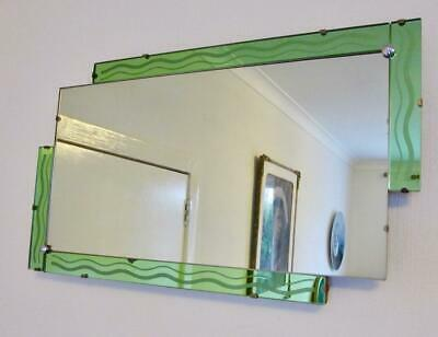 Original 1930'S Art Deco Odeon Style Stepped Mint Green Bordered Mirror