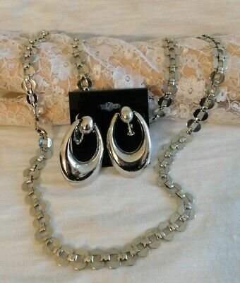 NAPIER Retro Silver Chain Necklace and Dangling Pierced Earrings Set Vintage