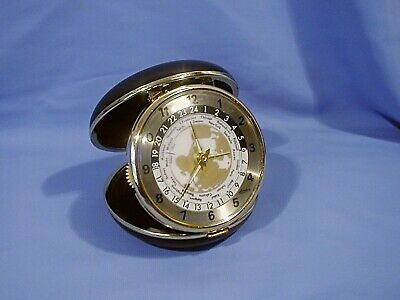 WIND-UP WORLD TRAVEL ALARM CLOCK - by LINDEN - MINTY - FREE SHIPPING