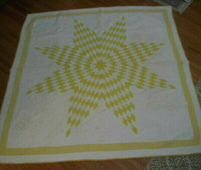 Yellow & White~Antique Vintage TEXAS STAR Lone Star Quilt~Lush Hand Quilting 74""
