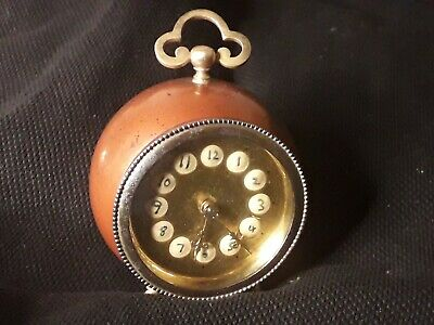 Antique French Ladys Travel Barrel Clock Working