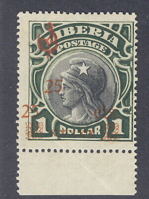 "Liberia 1915-6, 25c overprint on $1 official, SMALL ""x""s, DOUBLE ""25"" RRR #O82"