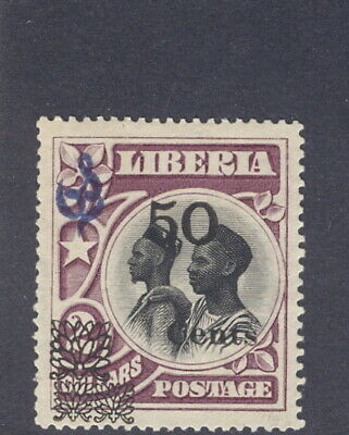 Liberia 1915-6, 50c black overprint on $2 natives official, RR #O83