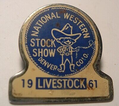 Vintage Hard to Find 1961 Western Livestock Show Exhibitor badge Denver Colorado