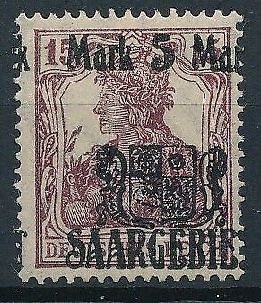 [53055] Saar 1921 good Overprint Variety on MH Very Fine stamp