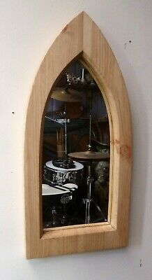 Gothic Arch Solid Wooden Pine Mirror 58 cm Hand Made Waxed
