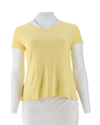4544032b25a Isaac Mizrahi Essentials Pima Cotton V-Neck T-Shirt Lemon Tart 2X NEW  A307536