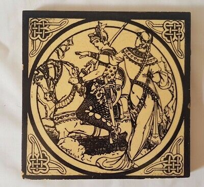 MOYR SMITH MINTON VICTORIAN KNIGHTS ON HORSEBACK MEDIEVAL antique TILE