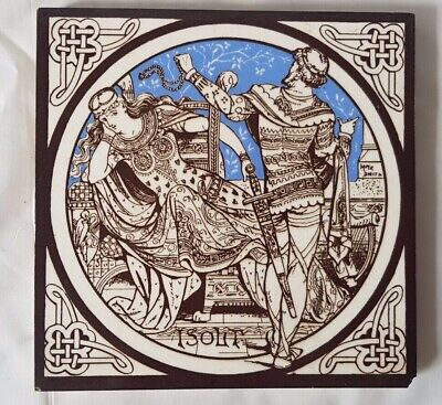 Moyr Smith Minton Victorian Medieval Maiden & Knight Isolt Scene 6 Inch Tile