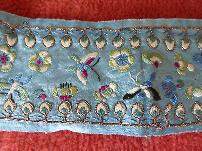 Antique Chinese silk embroidered Kimono trim, very fine, butterflies, plants,