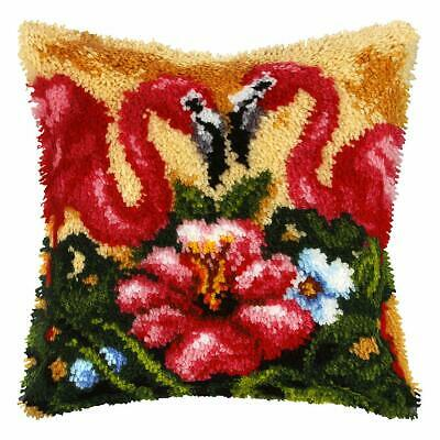 Flamingoes Latch Hook Cushion Front Kit. Orchidea, 40x40cm Printed canvas